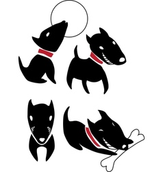 Set of funny cartoon black dogs vector