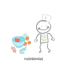 nutritionist standing next to a bowl of vegetables vector image