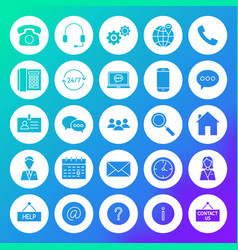 Contact circle solid icons vector