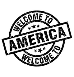 Welcome to america black stamp vector