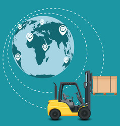 Global network of commercial warehouse vector