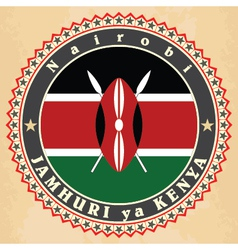 Vintage label cards of kenya flag vector