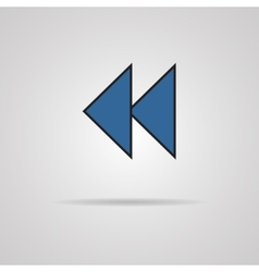 Reverse or rewind icon with shadow media player vector