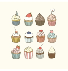 Set of 12 cupcakes vector
