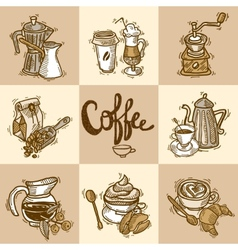 Coffee decorative set vector