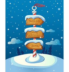 Christmas sign post with three direction boards on vector