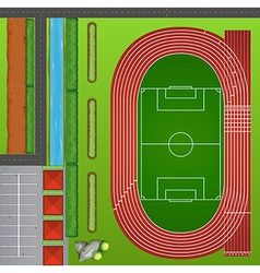 Football field with tracks vector image