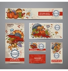 Set of autumn flyers cards banners vector