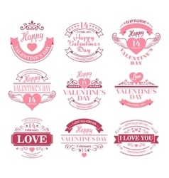 Valentine day set of typography elements with vector