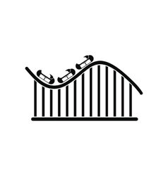 Roller coaster black simple icon vector