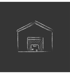 Warehouse drawn in chalk icon vector