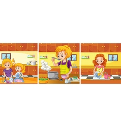 Girl and mom doing activities in the kitchen vector image