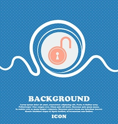 Open lock icon sign blue and white abstract vector