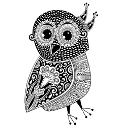 black and white original ethnic owl ink drawing vector image