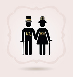 black senior mr and mrs couple symbol icons with vector image