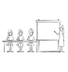 Blurred silhouette women group sitting in a desk vector