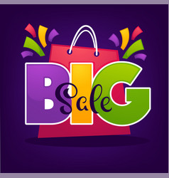 bright big sale background with shopping bags and vector image vector image
