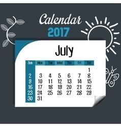 Calendar july 2017 template icon vector