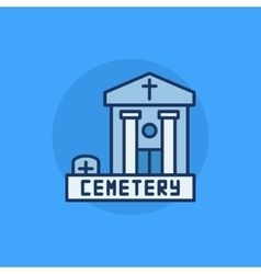 Cemetery building flat icon vector