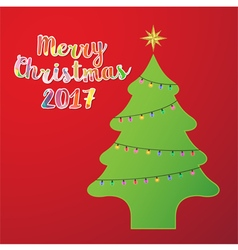 Christmas tree with light on red background vector image vector image