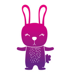 Color silhouette cute rabbit wild animal of the vector