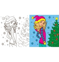 Colouring book of girl in winter vector