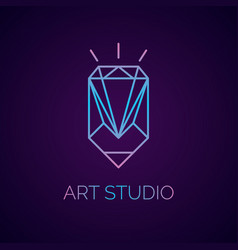 Conceptual logo and label art studio vector