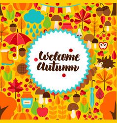 Flat autumn postcard vector
