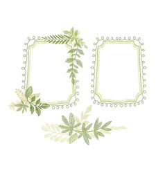 green floral hand drawn frame leaves decoration vector image vector image