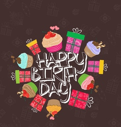 Greeting birthday card with cute little cakes vector