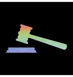 Justice hammer icon watercolor effect vector