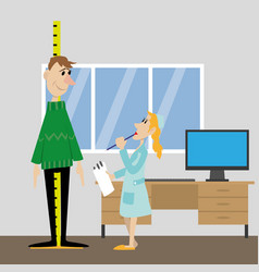 Measure the height of the patient vector