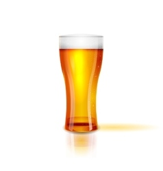Realistic Isolated glass of beer with drops vector image vector image