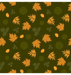 Seamless pattern with leaves and silhouettes vector