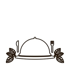 silhouette tableware cover with label and cutlery vector image