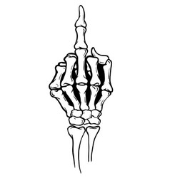 skeleton shows middle finger vector image