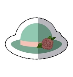 Sticker colorful lace hat roses bowler retro vector