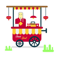 Street food trailer with vendor selling hot vector