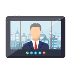 Tablet pc with internet conference app vector