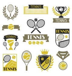 Tennis banners ribbons and badges with icons vector