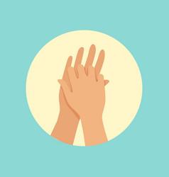 Washing hands between fingers round vector
