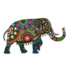 Colored doodle indian elephant vector
