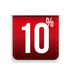 Ten percent off ribbon red vector
