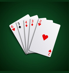 Poker hand cards straight combination template vec vector