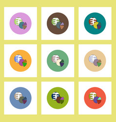 Flat icons set of business pie chart and earth vector