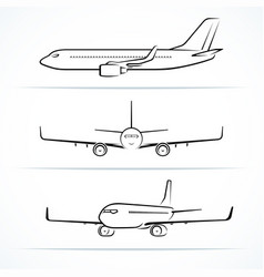Passenger airplane silhouettes contours outlines vector