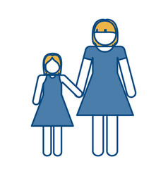 Pictogram woman and her daughter vector