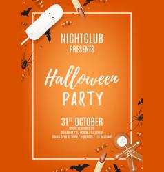 Orange halloween party poster with treats vector