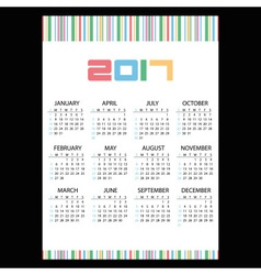 2017 simple business wall calendar color bar code vector