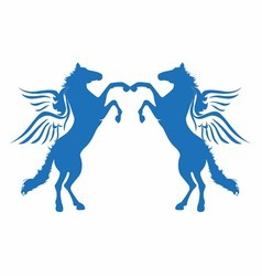 Blue horse wings logo icon vector